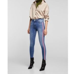 Zara jeans with raw hem and side stripe detail